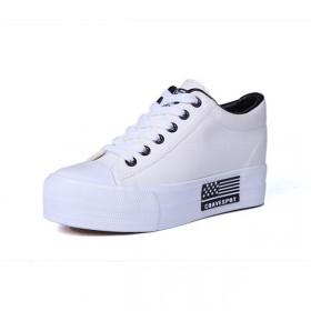 春季韩版白色帆布鞋女内增高厚底低帮鞋子百搭休闲松糕