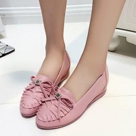 春季品牌休闲女鞋蝴蝶结新款低帮单鞋平跟内增高