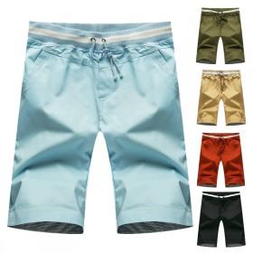 夏季男士全棉短裤翻边薄裤子男青年纯色休闲短裤韩版五