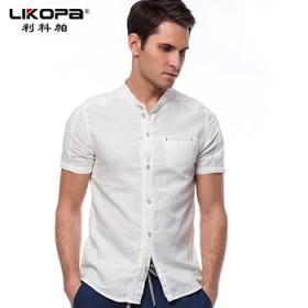 LIKOPA/利科帕男装短袖T恤 亚麻棉麻潮流夏季