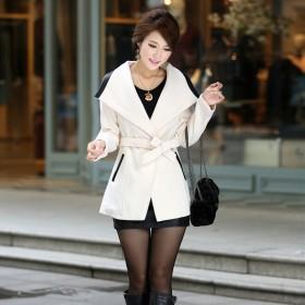 2016春新款韩版女式毛呢外套中长款修身腰带大衣