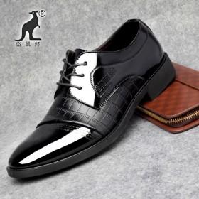 春季新款男士商务休闲皮鞋真皮系带牛皮尖头低帮鞋英伦