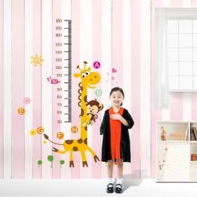 幼儿园装饰贴纸儿童房卧室可移除卡通贴画长颈鹿量身高