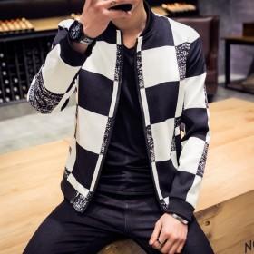 韩版修身新款格子休闲夹克2016年春季加肥加大码男
