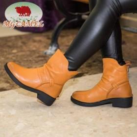 美国骆驼秋冬新款真皮短靴低跟女鞋拉链圆头短筒女靴