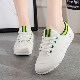 春夏明星同款帆布鞋女潮系带休低帮平底鞋学生小白鞋