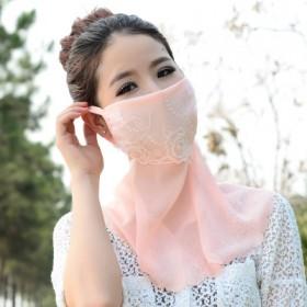 精美蕾丝女士雪纺防晒口罩 骑行面罩 防风防晒防尘