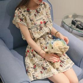 2016夏新款韩版人物花色个性优雅连衣裙短袖打底裙