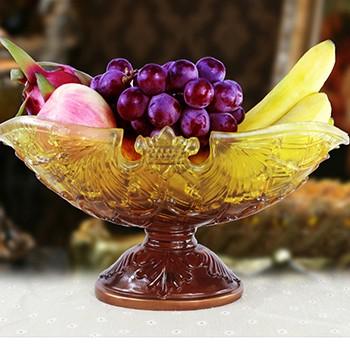 【包邮】 欧式宫廷创意时尚品牌奢华礼物大号水晶果盘客厅家居装