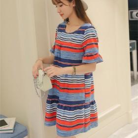 2016夏季韩版女大码短袖条纹圆领打底裙连衣裙