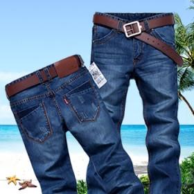 男士青年直筒修身新款中腰标准牛仔裤