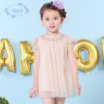 安宝莱女童夏装连衣裙儿童仙大裙摆