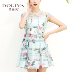 德丽芙专柜印花连衣裙