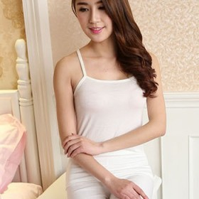 蕾丝蝴蝶结吊带小背心女打底衫莫代尔圆领纯色t恤