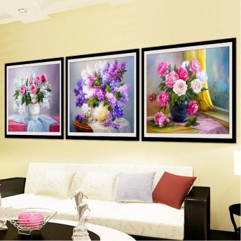 【包邮】 钻石画满钻客厅魔方贴钻花卉欧式花瓶三联画5d十字绣