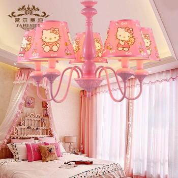 【包邮】 美式公主房温馨吊灯布艺5头吊灯儿童卡通卧室灯房间灯