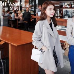 韩版新款春秋中长款宽松大码女式学生休闲风衣外套