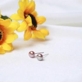 S999纯银天然淡水珍珠耳钉