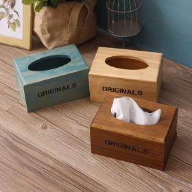 zakka杂货创意木制纸巾盒 复古餐厅饭店实木抽纸