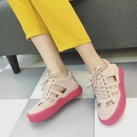 时尚真皮糖果色学生潮鞋厚底休闲运动凉鞋