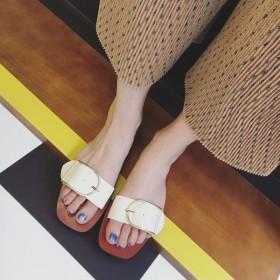欧美品牌2016夏季时装女鞋 真皮平底一字拖凉鞋
