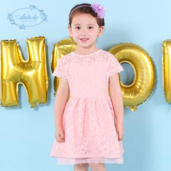 安宝莱夏装蕾丝女童连衣裙欧美时尚