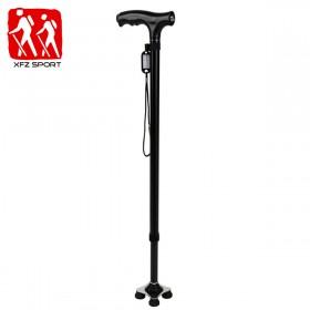 带LED灯小四脚拐杖老人拐棍铝合金可伸缩调节老年杖