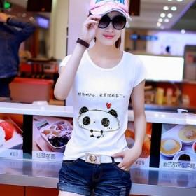女版纯棉印花短袖t恤衫夏装韩版圆领宽松学生半袖