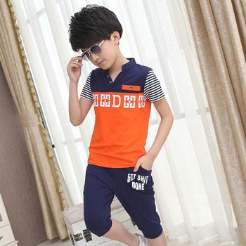 橙橙猴童装男童夏装2016新款中大童短袖运动套装