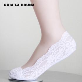 Guia la Bruna船袜 袜子女棉底薄蕾丝浅