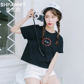 韩国刺绣款纯棉学生少女宽松短款短袖T恤
