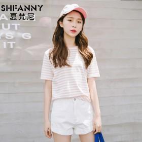 韩国小清新条纹t恤女宽松学生少女短袖打底衫