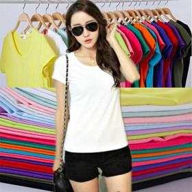 夏季新款韩版修身女士t恤短袖纯色圆领 纯棉针织打底