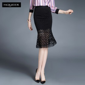 韩版新款女鞋蕾丝包臀半身裙 修身大码一步裙