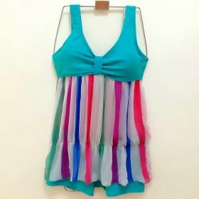新款泳衣女三件套平角比基尼 小胸钢托聚拢披纱性感韩