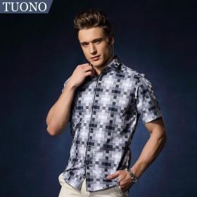 TUONO轻奢男装夏装新款男士纯棉短袖衬衫