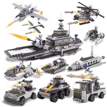 拼装玩具乐高积木益智插组搭军事汽车坦克飞机男孩