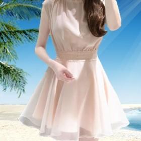 女版中裙a字裙立领纯色大码修身无袖雪纺连衣裙