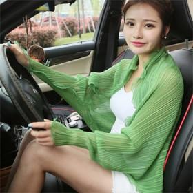新款夏季遮阳防晒披肩骑车开车防紫外线纯色外套防尘透