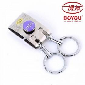 品牌博友不锈钢钥匙扣 三环钥匙圈男士汽车腰挂钥匙环