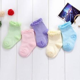 5双装夏季韩国糖果色网眼袜纯棉儿童短袜1-6岁