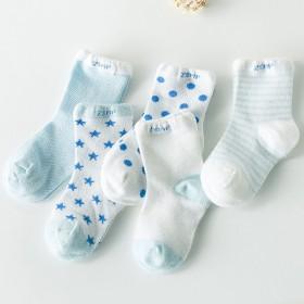 5双装夏季韩国糖果色网眼婴儿童袜纯棉0-9岁