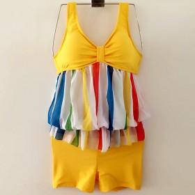 2016新款泳衣女三件套平角比基尼 小胸钢托聚拢披