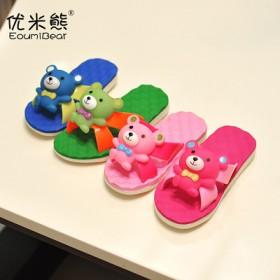 男女童居家防滑凉拖鞋可爱立体小熊叫叫鞋