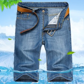 夏季宽松大码潮男韩版直筒裤牛仔短裤凉薄款中裤五分裤