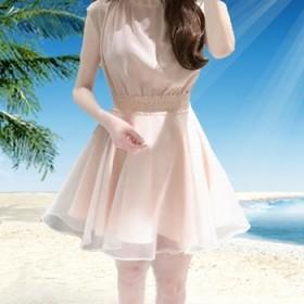 纯色女版雪纺连衣裙