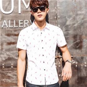 夏季修身短袖衬衫男青年休闲衬衣时尚青春韩版男装