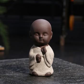 【包邮】 茶宠摆件禅意创意可爱小和尚小沙弥纯手工佛宜兴精品紫