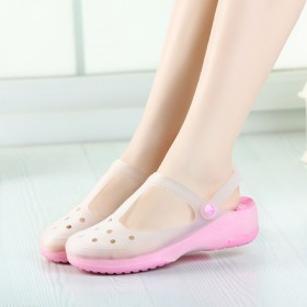 变色洞洞鞋女玛丽珍凉鞋沙滩鞋平跟花园果冻鞋