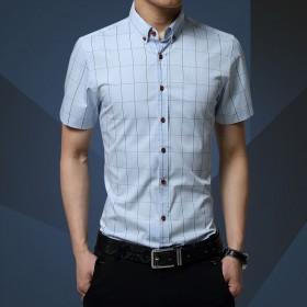 夏季男职业休闲格子衬衫